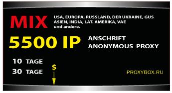 Proxy-Liste 5500 von IP-Adressen