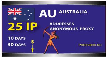 AUSTRALIA anonymous proxies 25 IP