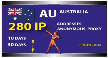 AUSTRALIA anonymous proxies 280 IP