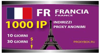 FRANCIA 1000 indirizzi proxy IP