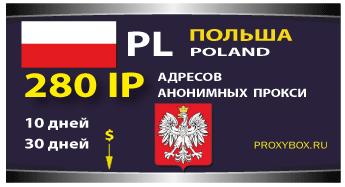 Польские прокси 280 IP адресов