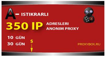 350 IP adresleri. RU, UA, BY, KZ, MD