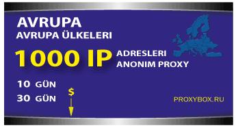 Avrupa proxy - 1000 IP Adresi