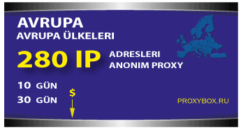 Avrupa proxy - 280 IP Adresi
