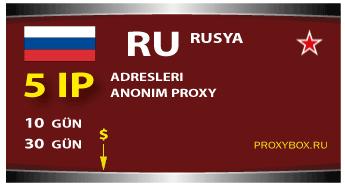 Rusya proxy - 5 IP adresleri