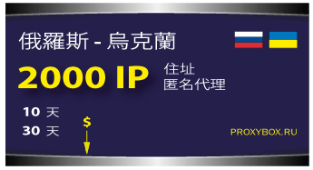 俄罗斯和乌克兰 - 2000 IP地址。