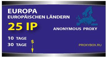 Europa 25 IP der Adressen