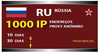 Proxies anônimos Rússia 1000 IP