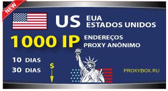 EUA 1000 IP. Proxy anônimo