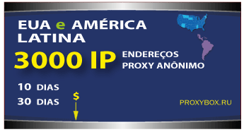 3000 EUA e América Latina. Proxy anônimo