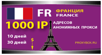 Прокси Франции 1000 IP адресов
