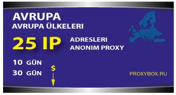 Avrupa proxy - 25 IP Adresi