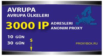 Avrupa proxy - 3000 IP Adresi